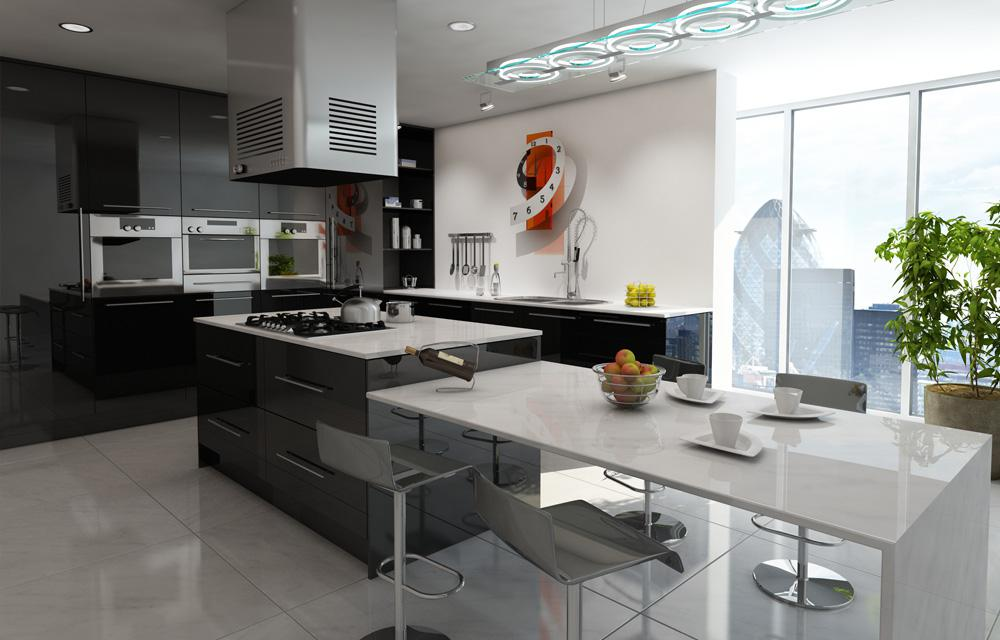 Zurfiz Metallic Black Kitchen
