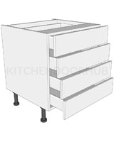 Low Level 4 Drawer Base Unit
