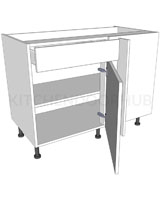 Variable Corner Kitchen Base Unit - Working Drawer