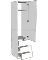 Single Combination Wardrobe - Linen Press