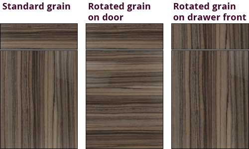Vertical and horizontal kitchen door grain directions