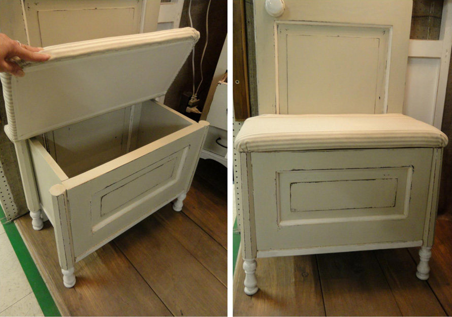 Storage seat built from recycled kitchen doors