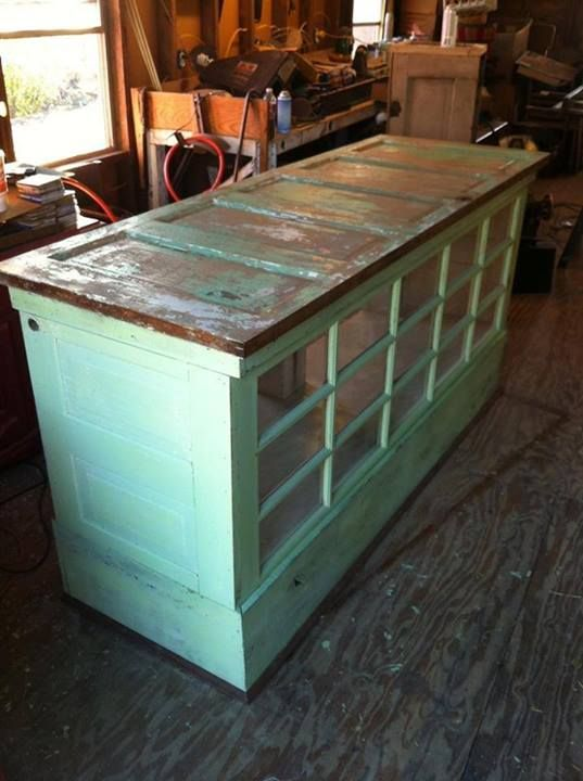 Kitchen island unit made from recycled kitchen doors