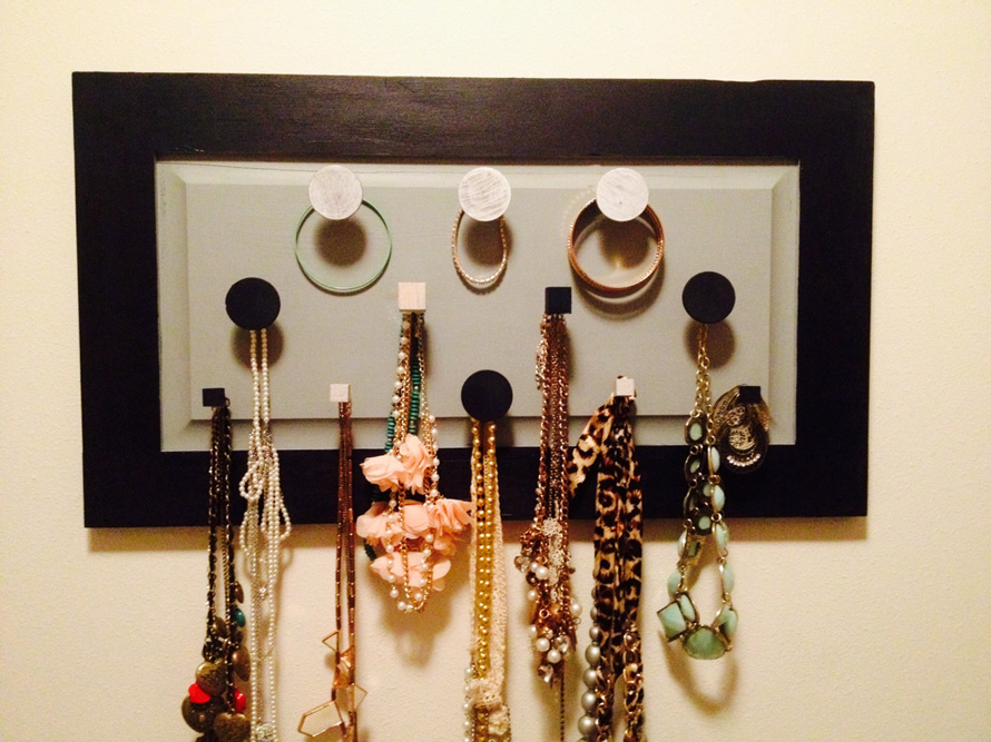 Jewellery organiser made from recycled kitchen door