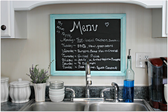 Chalk board made from recycled kitchen door