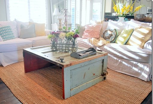 Coffee table made from recycled kitchen doors