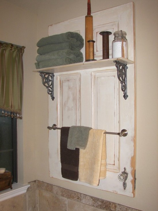 Bathroom towel rail converted from old kitchen door