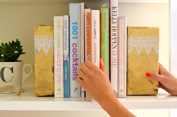 DIY painted bookends for bedroom